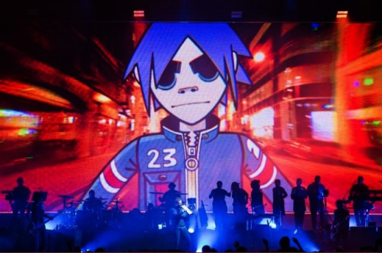 Beim-Konzert-in-der-Max-Schmeling-Halle-wurde-die-Band-aus-vier-Comicfiguren-ins-Live-Format-uebertragen
